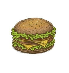 Colorful vintage style hand drawn cheeseburger vector
