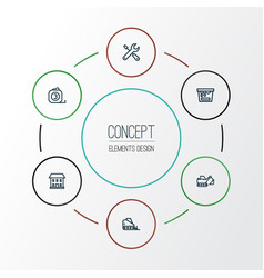 construction outline icons set collection of tape vector image vector image