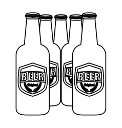 Contour brown bottles of beer icon image vector