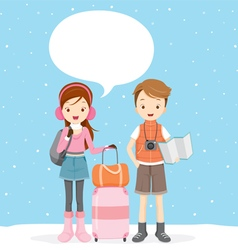 Couple with talk bubble ready to travel vector