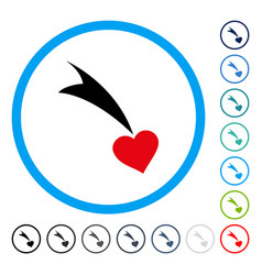 Falling heart rounded icon vector