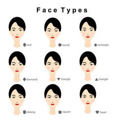 female face shapes on white background vector image