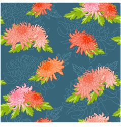 Floral seamless background with chrysanthem vector image vector image
