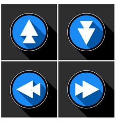 four white blue arrows - black shadows vector image