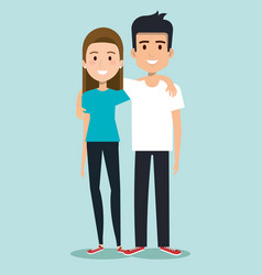 friends young people in casual clothes man and vector image vector image