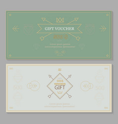 Gift certificate voucher coupon template hipster vector image vector image