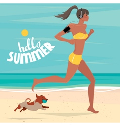 Girl trains on the beach vector image