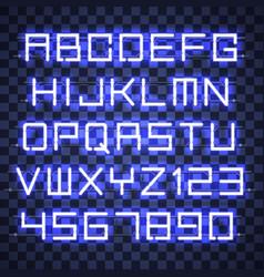 glowing blue neon alphabet vector image vector image