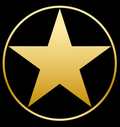 gold star in a golden circle simple form flat vector image