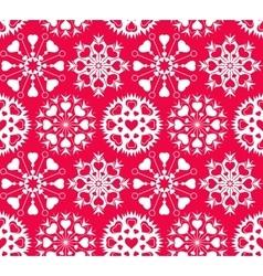 Heart snowflake seamless pattern christmas vector