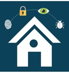 home security lock system vigilance fingerprint vector image vector image