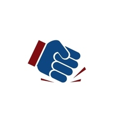 Isolated blue color fist logo human hand angry vector