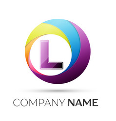 letter l logo symbol in the colorful circle on vector image vector image