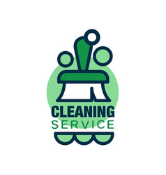 Linear style logo for cleaning service with brush vector