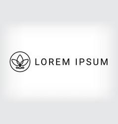 lotus line logo circle design template vector image vector image
