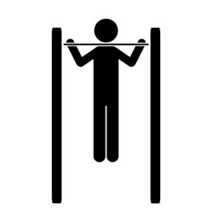 Monochrome pictogram of gymnastic training in vector