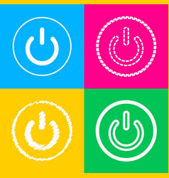 On off switch sign four styles of icon on four vector