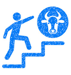 Person climbing to cow icon grunge watermark vector