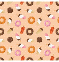 Seamless pattern with ice cream and donuts vector
