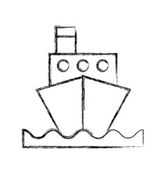 sketch draw ship cartoon vector image