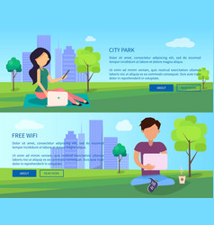 social networking web banner with man and woman vector image
