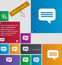 Speech bubble chat think icon sign metro style vector