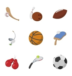 Sports stuff icons set cartoon style vector