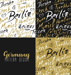 Travel germany europe berlin seamless pattern gold vector