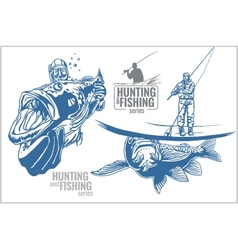 Underwater hunter and fisherman - vintage vector
