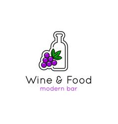 wine bar minimalistic logo line emblem vector image vector image