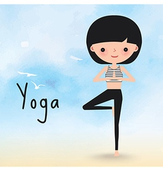Yoga woman on the beach cartoon vector image vector image