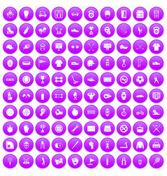 100 sport equipment icons set purple vector