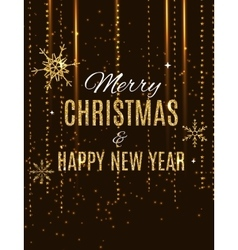 Merry christmas and new year gold glossy vector
