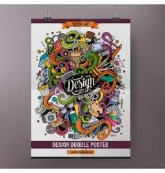 Cartoon doodles design poster template vector