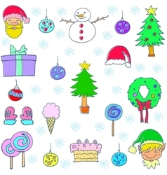 Christmas set object of doodle vector