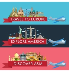 Worldwide travel set with famous attractions vector
