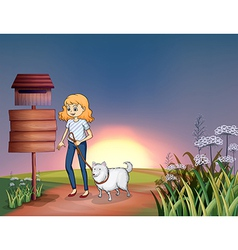 A girl with a dog in a sunset scenery vector