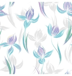 Seamless pattern with floral ornament irises in a vector