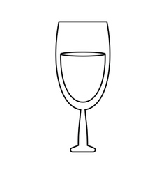 Glass red wine drink outline vector