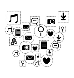 Social media and multimedia icon set design vector