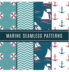 Nautical seamless patterns for kids marine vector