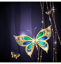 golden butterfly vector image