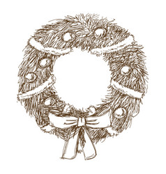 Vintage engraving wreath bow balls christmas and vector
