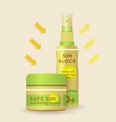 sun protection spray and cream can vector image