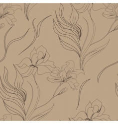 seamless wallpaper with lily flowers vector image