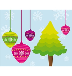 Tree and christmas balls over blue background vector