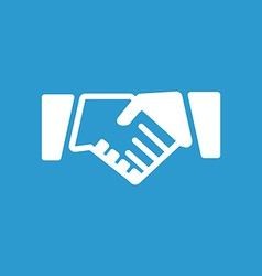 Handshake icon white on the blue background vector