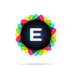Retro bright colors logotype letter e vector