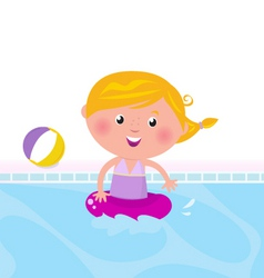 Cute girl swimming in pool vector