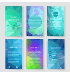 Modern cards design template with triangular vector